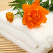 Orange flower on towel — Stock Photo #61606643