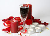 Glass of Wine and candles — Stock Photo