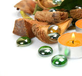 Burning candles and bark of a tree — Stock Photo