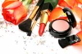 Cosmetics and petals of roses — Stock Photo