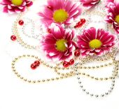 Flower with beads — Stock Photo