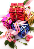 Holiday Boxes with gifts — Stock Photo