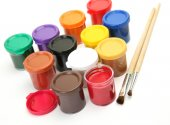 Brushes and colorful paints — Stock Photo