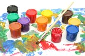 Brush and colorful paints — Stock Photo