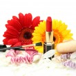 Decorative cosmetics and flowers — Stock Photo #65598949