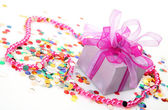 Box with  gift and  confetti — Stock Photo