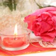 Pink rose flower and candle — Stock Photo #67822137