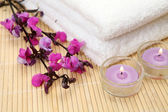 Candles, flowers and towels — Stock Photo