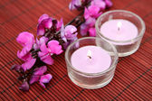Orchid  flower and candles — Stock Photo