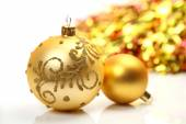 Christmas toys with blurred garland — Stock Photo