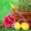 Eggs ,willow branches and Easter decorations — Stock Photo #68427857