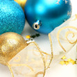 New Year's spheres with confetti  and ribbon — Stock Photo #70823333