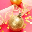 New Year's spheres with confetti  and ribbon — Stock Photo #70823209