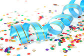 Streamer and  colorful confetti — Stock Photo