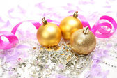 New Year's spheres and ribbons — Stock Photo