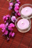 Aroma Flowers and candles — Stock Photo