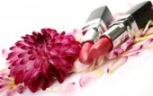 Decorative cosmetics with flower — Stock Photo