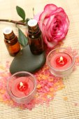 Subjects for care of a body with rose and candles — Stock Photo