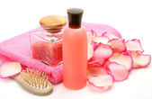Subjects for a shower with rose petals — Stock Photo