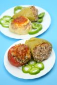 Peppers stuffed with meat — Stock Photo