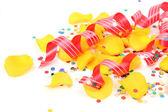 Confetti Streamer and petals — Stock Photo