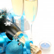 Champagne and decorative spheres — Stock Photo #72486055