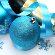 Champagne and decorative spheres — Stock Photo #72486073