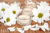 Flowers and candles close-up — Stock Photo