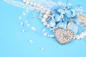 Decorative flowers on blue — Stock Photo