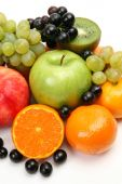 Fresh fruits on white — Stock Photo