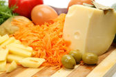 Potato, cheese and egg — Stock Photo