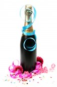 Champagne and streamer on white — Stock Photo
