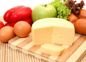 Vegetables, fruits, cheese and sausage — Stock Photo