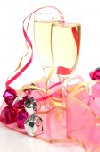 Wine and flower on white — Stock Photo