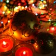 Decorative spheres and candles — Stock Photo #76315497