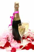 Champagne and roses for event — Stock Photo