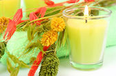 Arma candle with herbs — Stock Photo