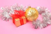 Decoration toy with present box — Stock Photo
