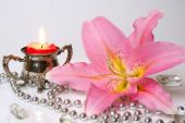 Candle and flower  as decoration — Stock Photo