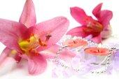 Růžové lilie s růžové svíčky — Stock fotografie