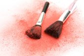 Makeup brushes on table — Stock Photo