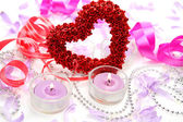 Heart and candles — Stock Photo
