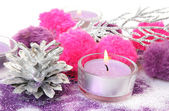 Candle and Christmas decorations — Stock Photo
