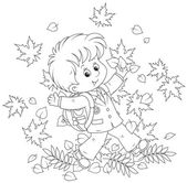 Schoolboy with autumn leaves — Stock Vector