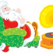 Santa Claus listening to music — Stock Vector #53475915