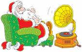 Santa Claus listening to music — Stock Vector