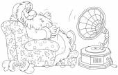 Santa Claus listening to music — Stock Vector