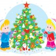 Children and Christmas tree — Stock Vector #53565063