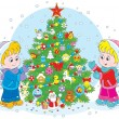 Children and Christmas tree — Stock Vector #53565075
