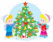 Children and Christmas tree — Stock Vector